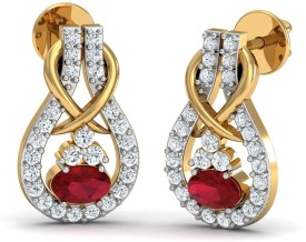 Damor Exsultant Yellow Gold 18kt Diamond, Ruby Stud Earring