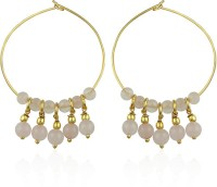 Pearlz Ocean Pearlz Ocean Noir Rose Quartz Gemstone Beads Yellow Gold Alloy Hoop Earring
