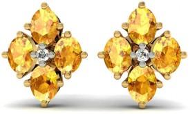 Rasav Jewels EARRING 1441SJJ 18 K Diamond, Citrine Gold Stud Earring