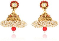 Ratnakar Red Diamond With The Golden Dull Yellow Gold Copper Jhumki Earring