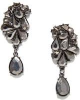 Oomph Black Stone Dangling Metal Dangle Earring