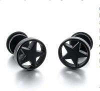 Magideal Round Stars Pentagram Stainless Steel Stud Earring