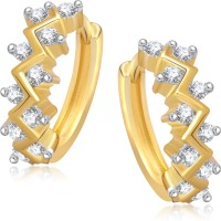 VK Jewels Zig Zag Stones 18K Yellow Gold Plated Cubic Zirconia Alloy Huggie Earring