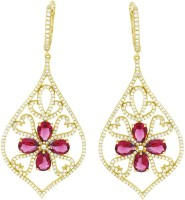 Gemtogems Red Flower Yellow Gold Plated Diamond, Ruby Sterling Silver Dangle Earring