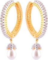 Affinity Jewellers Affinity Single Line Round Hoops With Pearl With CZ Stones 18K Yellow Gold Plated Cubic Zirconia Alloy Hoop Earring