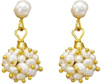 Prisha Floral Ceramic Yellow Gold Plated Pearl Alloy Drop Earring