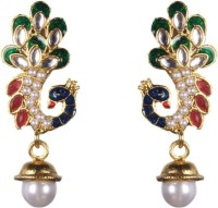 Tatva Peacock With Kundan Ruby And Enamel Based Pearl Drop Earrings Alloy Drop Earring