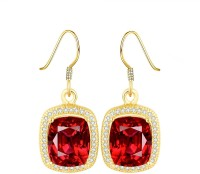 YELLOW CHIMES Red Crystal Metal Drop Earring