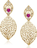 VK Jewels Big Leaf Yellow Gold Plated Alloy Drop Earring