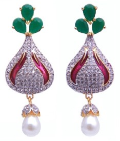 YUVEN Multi-Color Zircon, Pearl Brass, Alloy Drop Earring