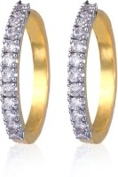Alysa ES008503 Rhodium, 18K Yellow Gold Cubic Zirconia Alloy Hoop Earring