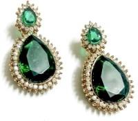 Glittering World Designer Green Stone Alloy Drop Earring
