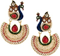 The Jewelbox Peacock Pearl Copper Chandbali Earring