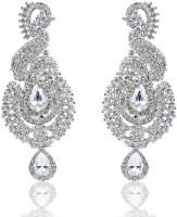 Kriaa Designer Rhodium White Stone - 2000222 Alloy Chandelier Earring
