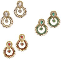 YouBella Combo Of Red, Green , Pearl And American Diamond Alloy Chandbali Earring