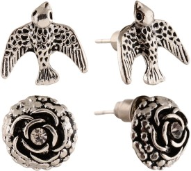 Anokhi ADA Rose and Bird Metal Stud Earring