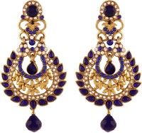 I Jewels Traditional Gold Plated Kundan & Stone Alloy Chandelier Earring
