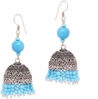 Jaipur Mart Charming Feroza Beads Silver Tone Alloy Jhumki Earring