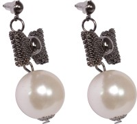 Trinetra Black Plated Butterfly Earring With Pearl German Silver Stud Earring