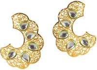 Kriaa Gold Cut Work Gold Finish Kundan - 1305007 Alloy Cuff Earring