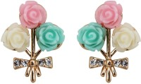 Crunchy Fashion Pastel Roses Rose Gold Plated Crystal Alloy Stud Earring