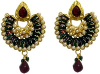 ACW Gold Plated Chand Bali With Pearls, Green And Maroon Meenakari Work Earrings For Women Alloy Chandbali Earring