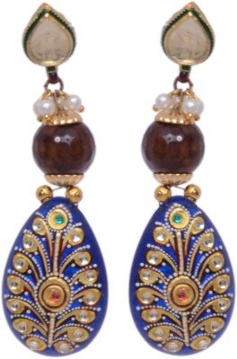 Alloy Vari Blue Meena Work Brass Alloy Drop Earring (Multicolor)