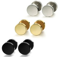 Vaishnavi First Quality 8mm Three Pairs Unisex Gold,Silver,Black Made Of Non-Allergic 316l Stainless Steel Plug Earring