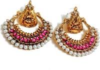 Glittering World Designer Pink Stone Lakshmi Temple Jewellery Ramleela Copper, Stone Chandbali Earring