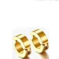 Vaishnavi First Quality Korean Made Unisex 24kt Coated Unisex Long Lasting Non-Allergic For Non-Pierced Ear 316l Stainless Steel Hoop Earring