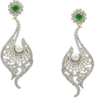 Pearls Cart Ad Stone Studded Peacock Theme Style Alloy Drop Earring - ERGEDKRQ6ZQA6BSY