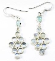 YugshaJewels Sparkling Blue & White Rainbow Moonstone Moonstone Sterling Silver Chandelier Earring
