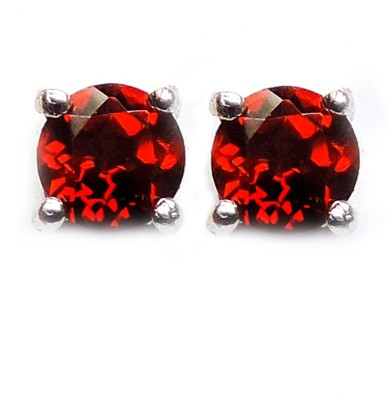 Silvantra Genuine Gemstone Tops Rhodium Plated Garnet Sterling Silver Stud Earring