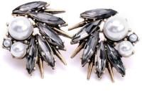 Oomph Black, Grey & White Metal Stud Earring