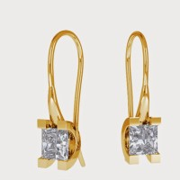Aiza 18K Yellow Gold Plated 18 K Diamond Gold Dangle Earring
