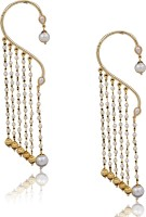 Prisha A Bueatiful White Colour Pearls Long Hanging Ear Cuff Earrings With Gold Plated Pearl Copper Drop Earring