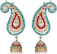 Taj Pearl Traditional Yellow Gold Plated  K Brass Drop Earring