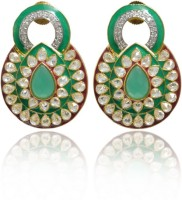 Jaipur Mart Exclusively Designed Red And Green Meenakari Valentine Ad Cubic Zirconia Brass Stud Earring