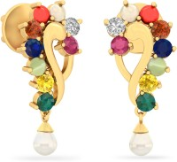 WearYourShine By PCJ The Izusa 18 K Diamond, Ruby, Emerald, Sapphire, Coral, Garnet, Cat's Eye Gold Drop Earring