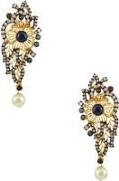 Orniza Plain Earrings In Navy Blue Color With Golden Polish Brass Drop Earring