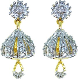 YUVEN Golden Jhumki Zircon Brass, Alloy Jhumki Earring