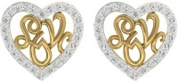 TBZTheOriginal TBZ - The Original 18KT Yellow Gold Workwear Heart Stud Earring With 0.29cts Diamonds Yellow Gold 18kt Diamond Stud Earring