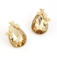 Cinderella Collection By Shining Diva Yellow & Golden Crystal Alloy Stud Earring
