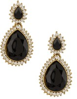 Voylla Pair Of Gold Plated Decorated With Shiny CZ And Black Color Stones 18K Yellow Gold Plated Cubic Zirconia Alloy Drop Earring