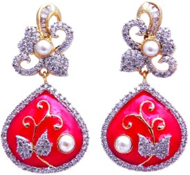 YUVEN Red Enamel Zircon Brass, Alloy Drop Earring