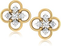 Forevercarat Clover 14K Yellow Gold Plated Diamond Silver Stud Earring
