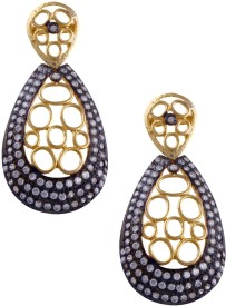 Jahnvi Gold black Metal Drop Earring
