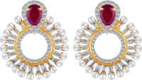 American Diamond Beautiful 18K Yellow Gold, Rhodium  K Cubic Zirconia, Ruby Copper, Brass Stud Earring