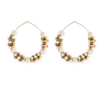 Fida Stylish Heavy Gold And Pearl Copper Hoop Earring