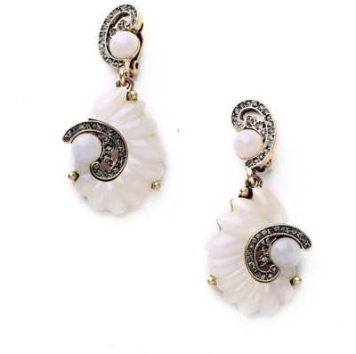 Oomph White Shell Motif And Gold Metal Drop Earring